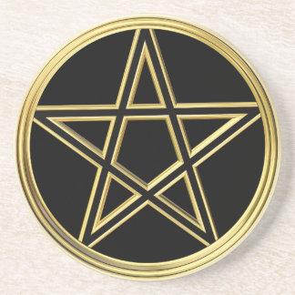 Goldener Pentagram Untersetzer