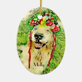 Goldener Retriever-Hund mit Blumen-KroneWatercolor Keramik Ornament