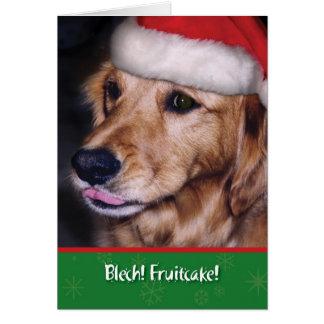 Goldener Retriever-lustiger Weihnachtsfruchtkuchen Karte