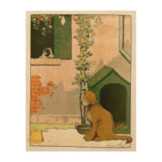 Goldener Retriever-und Jack-Russell-Terrier Holzwanddeko
