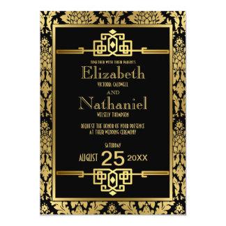 Goldener Romance Zwanzigerjahre Kunst-Deko, der 12,7 X 17,8 Cm Einladungskarte