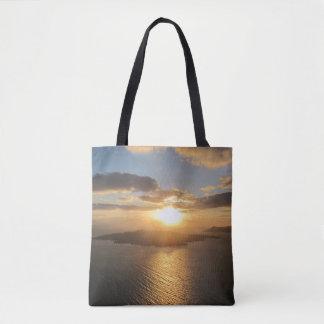 Goldener Santorini Sonnenuntergang Tasche