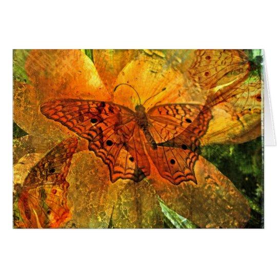 Goldener Schmetterling und Lilie - Karte