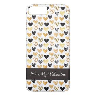 Goldener und schwarzer Herzen iPhone Kasten iPhone 8 Plus/7 Plus Hülle