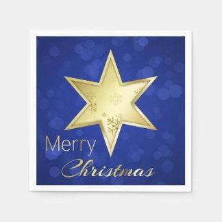 Goldener Weihnachtsstern blaues Bokeh - Papierserviette