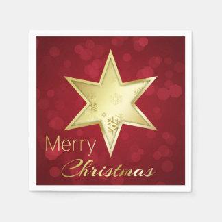 Goldener Weihnachtsstern rotes Bokeh - Servietten