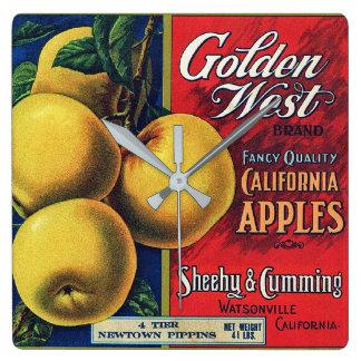 Goldener Westkisten-Aufkleber kaliforniens Apple Quadratische Wanduhr