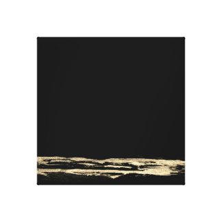 Goldenes abstraktes Malerei-Schwarzes streicht Leinwanddruck
