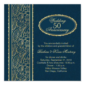 Goldenes Blätter auf Blau 50. Hochzeits-Jahrestag Quadratische 13,3 Cm Einladungskarte