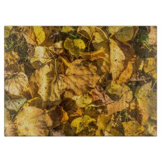 Goldenes Blätter Glas Schneidebrett