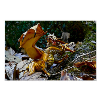 Goldenes Drache-Nest Poster