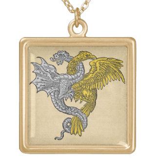 Goldenes Eagle und silberner Drache Vergoldete Kette
