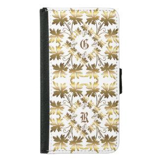 Goldenes Element mit Blätter. Monogramm Geldbeutel Hülle Für Das Samsung Galaxy S5