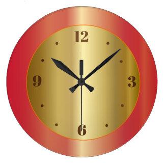 Goldenes Glühen mit orange Rot-Grenzküchen-Uhren Große Wanduhr