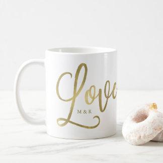 Goldenes Imitat-Goldskript der Liebe-| modernes Kaffeetasse
