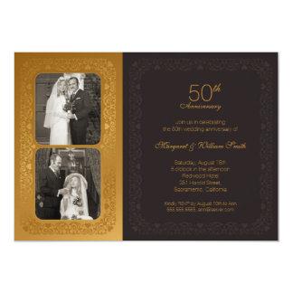 Goldenes Jahrestags-Party Hochzeit der Fotos 50. 12,7 X 17,8 Cm Einladungskarte