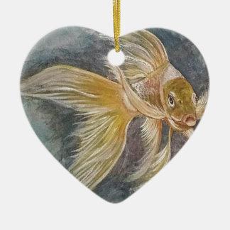 Goldenes Koi Keramik Herz-Ornament