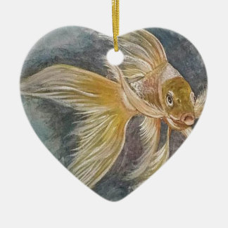 Goldenes Koi Keramik Ornament