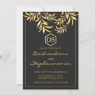 Luxury Golden Leaves Wedding Save the Date Card
