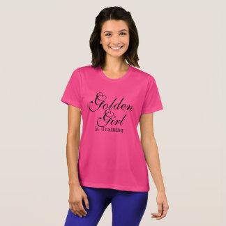 Goldenes Mädchen im Trainings-Shirt für Frauen T-Shirt