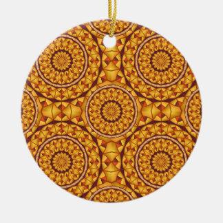 Goldenes Mandalasmuster Rundes Keramik Ornament