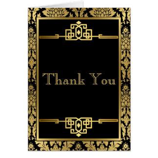 Goldenes RomanceArt DecoThank Sie Anmerkungs-Karte Grußkarte