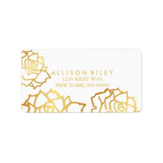 Goldenes Rosen-Adressen-Etikett - Weiß Adress Aufkleber