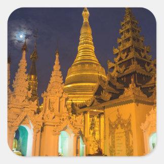 Goldenes Stupa und Tempel Quadratischer Aufkleber