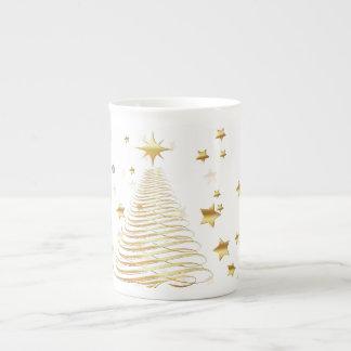 Goldenes WeihnachtsSet - Knochen-China-Tasse Prozellantasse