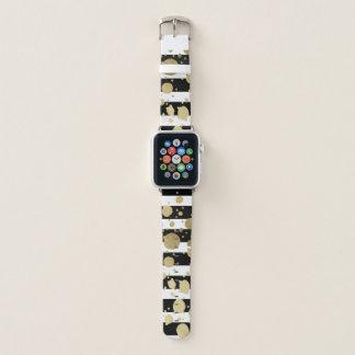 Goldfarben-Spritzer-Schwarz-weiße Streifen Apple Watch Armband