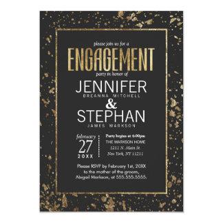 Goldfarben-Spritzer-Verlobungs-Party lädt ein 12,7 X 17,8 Cm Einladungskarte