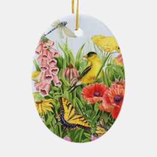 Goldfinch-Garten Ovales Keramik Ornament