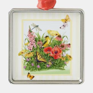 Goldfinch-Garten Silbernes Ornament