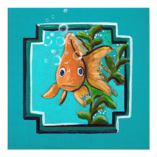 Goldfisch, der im Wasser aufwirft Karte