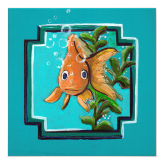 Goldfisch, der im Wasser aufwirft Quadratische 13,3 Cm Einladungskarte