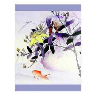 Goldfisch-Eisvogel-Japanerdruck Postkarte