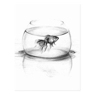Goldfisch in einer Schüsselbleistift-Kunst Postkarte