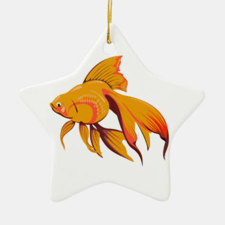 Goldfisch Keramik Stern-Ornament