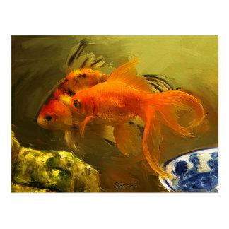 Goldfisch zwei postkarte