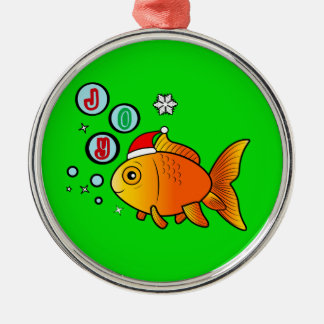 Goldfish mit Weihnachtsmannmütze und Blasen der Silbernes Ornament