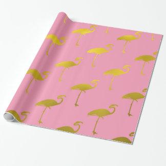 Goldflamingo-Imitat-metallische Folien-tropischer Geschenkpapier