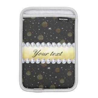Goldflitter-Sterne und Diamanten Bling Schwarzes iPad Mini Sleeve