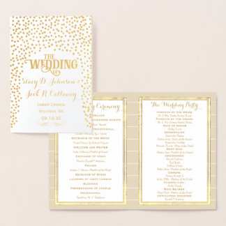 Goldfolie HOCHZEITS-PROGRAMM Confetti-Typografie Folienkarte
