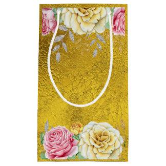Goldfolie mit Vintagen Rosen Kleine Geschenktüte