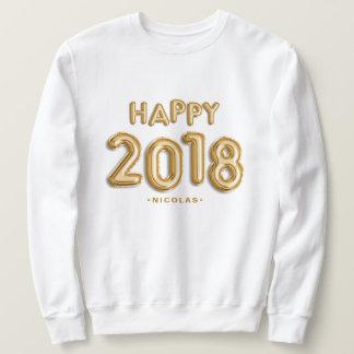 Goldfolie steigt glückliches 2018 personalisiert sweatshirt