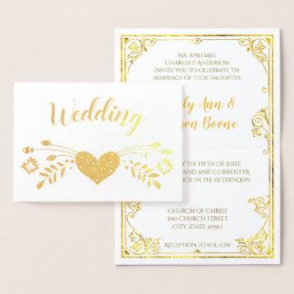Goldfolien-Blumentypographie-Hochzeits-Einladungen Folienkarte