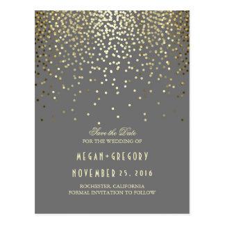 Goldfolien-Effekt Confetti elegant Save the Date Postkarten