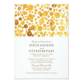 Goldfolien-Effektconfetti-elegante Hochzeit 12,7 X 17,8 Cm Einladungskarte