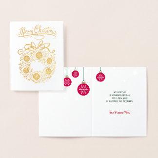 Goldfolien-Geschäfts-frohe Weihnacht-Kranz-Karte Folienkarte