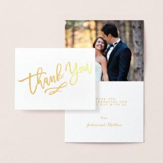 Goldfolien-Hand beschriftete Hochzeit danken Ihnen Folienkarte